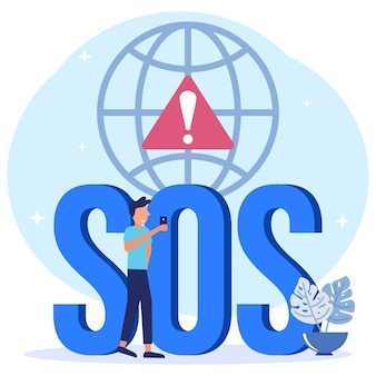 Illustration vector graphic cartoon character of sos