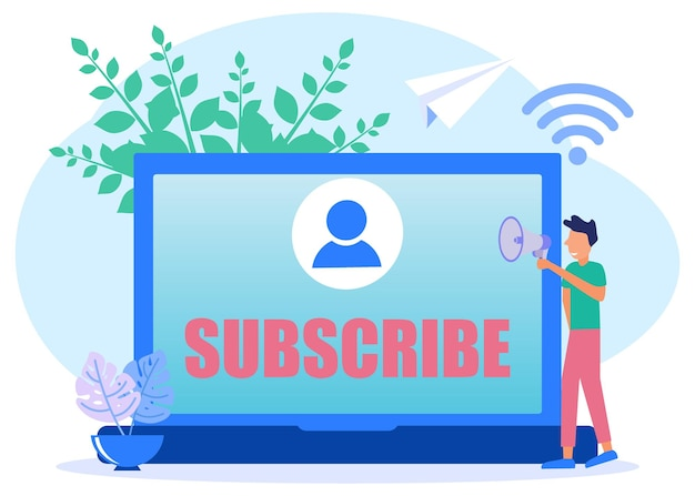 Illustration vector graphic cartoon character of subscribe now