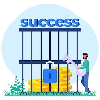 Illustration vector graphic cartoon character of success key