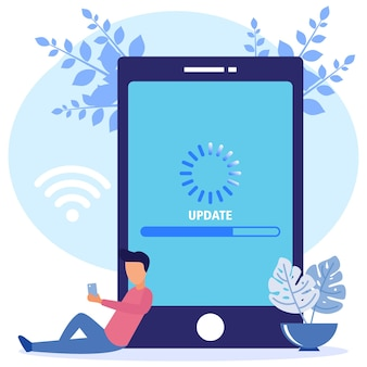 Illustration vector graphic cartoon character of system update