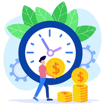 Illustration vector graphic cartoon character of time is money