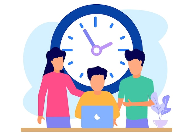 Illustration vector graphic cartoon character of time management