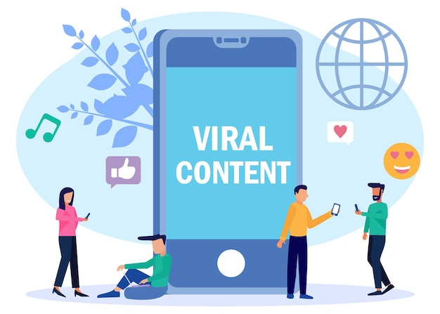 Illustration vector graphic cartoon character of viral content