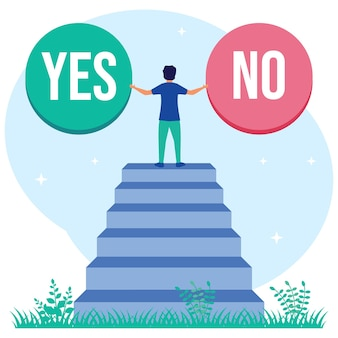 Illustration vector graphic cartoon character of yes or no