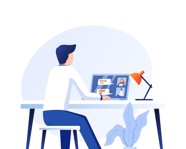 Illustration vector graphic of man having a conference call with his business team online