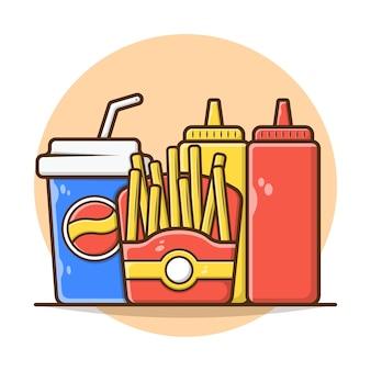 Иллюстрация векторной графики меню еды картофель фри с содовой, кетчупом и горчицей. меню быстрого питания и концепции нездоровой пищи.