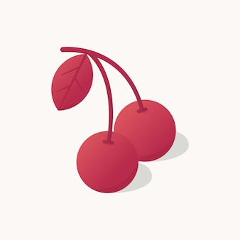 Illustration vector graphic of modern two cherry cartoon style stylized that looks simple