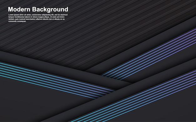 抽象的な背景の黒い色と青い線のイラストベクターグラフィック