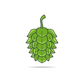 ビールのマーケティングと販売の目的で準備ができているビールグリーンホップフラワーのイラストベクトルグラフィック。不眠症、不安、落ち着きのなさの治療としてハーブ医学でも使用されます