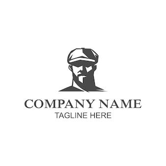 모자를 쓴 남자의 얼굴 로고의 일러스트 벡터 그래픽. 벡터 로고 템플릿