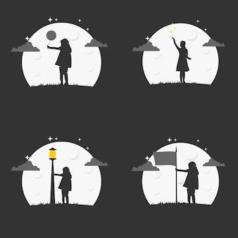夜のロゴの女の子のイラストベクトルグラフィック。教育会社での使用に最適