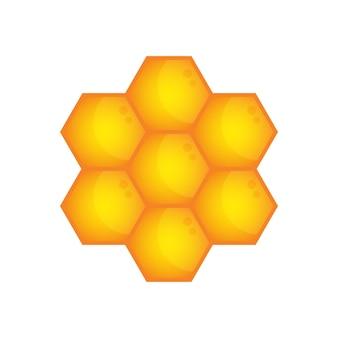 ハニカムアイコン蜜蝋金六角形記号シンボルの白い背景のイラストベクトルグラフィック