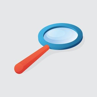 白い背景で隔離の青いプラスチックケースフラットデザインの拡大鏡のイラストベクトルグラフィック。