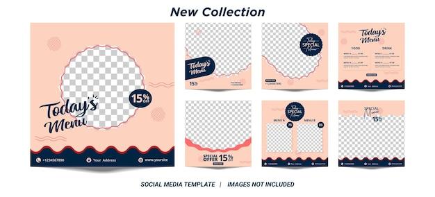 フードポストの編集可能な正方形のバナーテンプレートデザインのセットのイラストベクトルグラフィック。ソーシャルメディアポストレストランや料理のデジタルプロモーションに適しています。ピンクとブルーの背景色sha