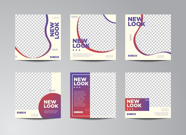 Illustration vector graphic of set of editable minimal square banner template. white and gradiant background color with stripe line shape. suitable for social media post and web internet ads with phot