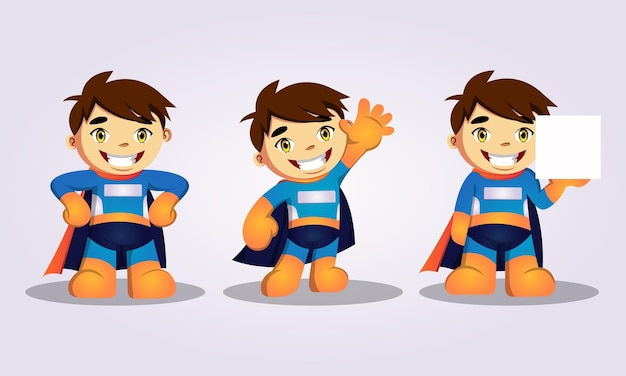 슈퍼 히어로 의상을 입은 귀여운 아이의 그림 벡터 그래픽 세트