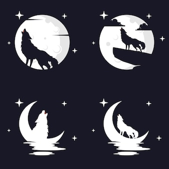 Illustration vector graphic of wolf with moon background. perfect to use for t-shirt or event