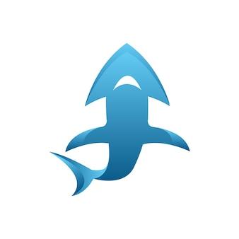 Иллюстрация векторный логотип акулы со стрелкой