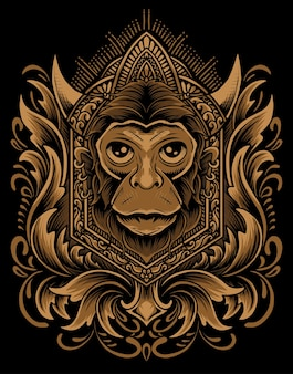 Illustration vector monkey head with vintage engraving ornament.