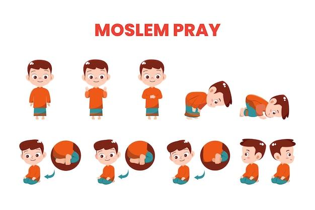 Illustration vector muslim boy demonstrate prayer movements