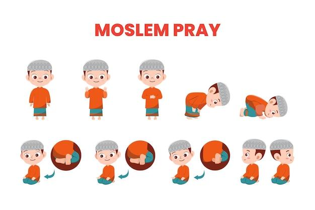 Illustration vector muslim boy with cap demonstrate prayer movements