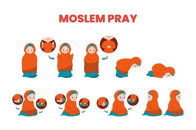 Illustration vector muslim girl demonstrate prayer movements
