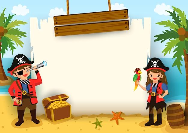 ビーチの背景にマップフレームを持つ男の子と女の子の海賊のイラスト。