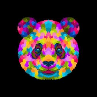 Вектор иллюстрации красочный панда поп-арт портрет стиль