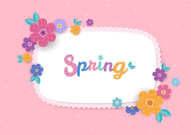 분홍색 배경에 봄 꽃과 꽃 프레임 디자인의 일러스트 벡터.
