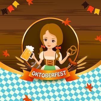 Illustration vector of oktoberfest with girl holding beer mug and pretzel on wooden background