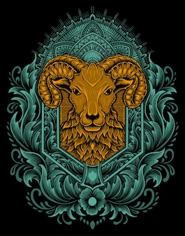 イラストベクトル羊の頭とヴィンテージの彫刻飾り。