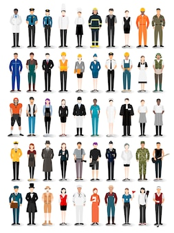 Illustration vector of various careers and professions