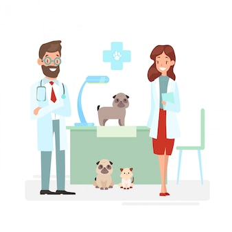 Illustration of veterinarians staff with cute animals. vet and pet doctors with dogs and cat. veterinary concept, pets care, animals and doctors in cartoon flat style.