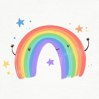 Illustration of vibrant watercolor smiley rainbow