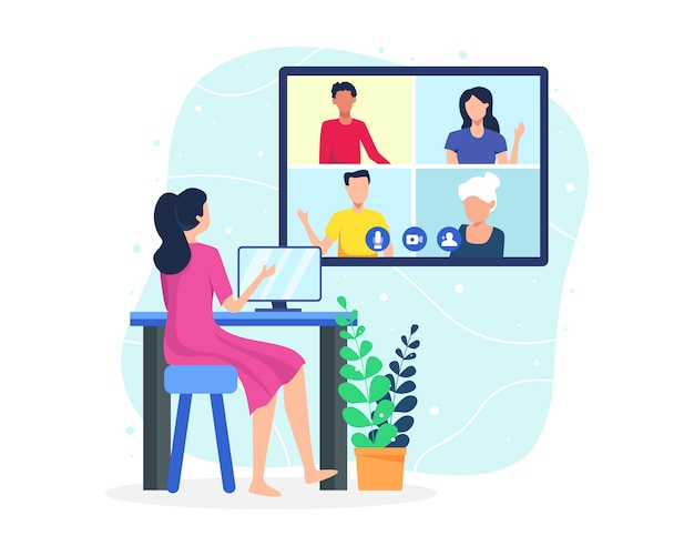 Illustration video conference concept