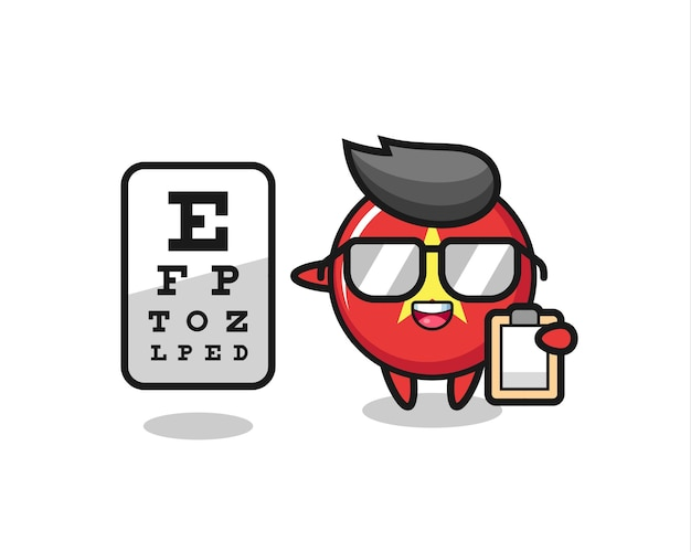 Illustration of vietnam flag badge mascot as an ophthalmology , cute style design for t shirt, sticker, logo element