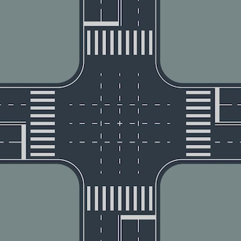 Illustration of view from top to crossroad on gray background