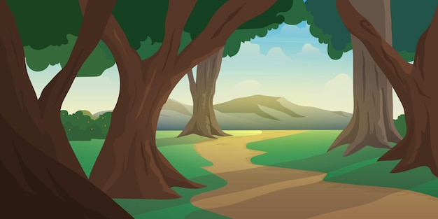 Illustration view of jungle forest with mountain background