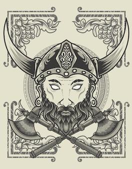 Иллюстрация головы викинга с двумя топорами в монохромном стиле