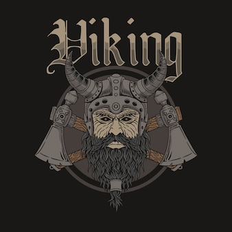 Illustration of viking warrior head wearing a viking helmet