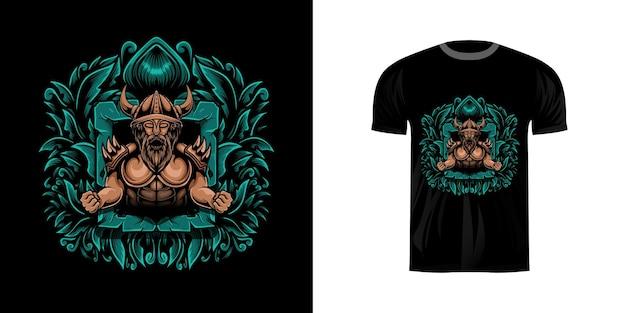 Tシャツデザインの彫刻飾りとバイキングのイラスト