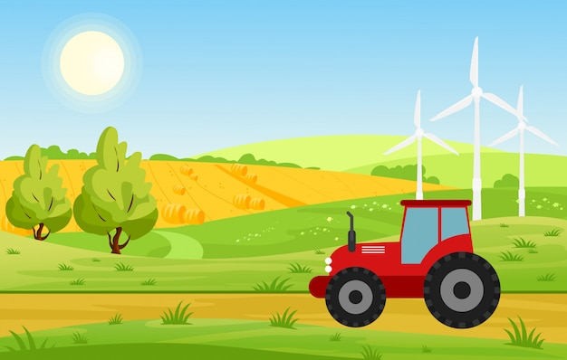 Illustration of village with fields and tractor working on farmed land, bright colors landscape, farm concept in cartoon flat style.