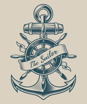 Illustration of a vintage anchor and ship wheel. perfect for logos, shirt design and many other