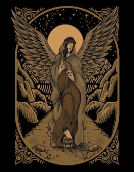 Illustration vintage angel with engraving style