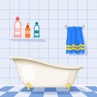 Illustration of vintage bathtub on the tiled floor with plastic bottles of shampoo and a blue towel on the wall. cartoon style. set of items for care. retro bathroom