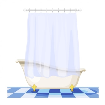 Illustration of vintage bathtub with a curtain on the tile floor. furnishings bathroom. retro bath with curtain, hygiene facility
