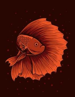 イラストヴィンテージ美しいベタの魚の赤い色