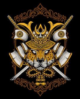 Иллюстрация старинный гепард самурай голову