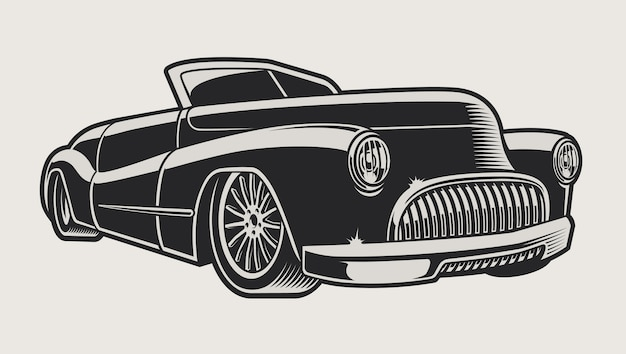 Illustration of a vintage classic car on a light background. the illustration has a light color background.