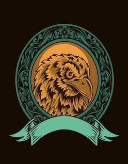 Иллюстрация старинный орел голова птицы